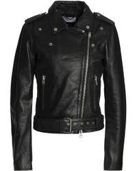 Muubaa - Woman Leather Biker Jacket Black - Lyst