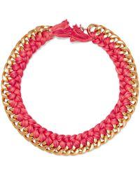 Aurelie Bidermann - Do Brasil 18-karat Gold Braided Necklace Bright Pink - Lyst