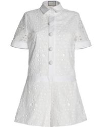 Alexis - Broderie Anglaise Cotton Playsuit - Lyst