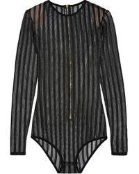 Balmain - Striped Open-knit Bodysuit - Lyst