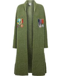 Stella Jean - Appliquéd Ribbed-knit Cardigan - Lyst