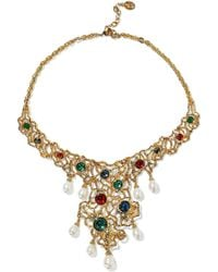 Ben-Amun - Woman 24-karat Gold-plated, Swarovski Crystal And Faux Pearl Necklace Gold - Lyst