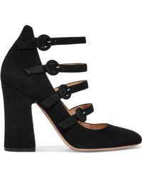 Gianvito Rossi - Suede Mary Jane Pumps - Lyst