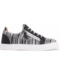 Giuseppe Zanotti - London Printed Smooth And Snake-effect Leather Sneakers - Lyst