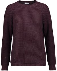 Brunello Cucinelli - Sequin-embellished Ribbed Wool-blend Jumper - Lyst