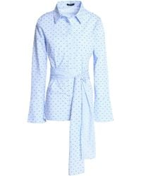 Raoul - Tie-front Embroidered Gingham Cotton-poplin Shirt Light Blue - Lyst