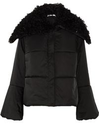 ADEAM - Lace-up Shearling-trimmed Quilted Shell Coat - Lyst