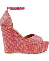 M Missoni - Metallic Jacquard Wedge Sandals - Lyst