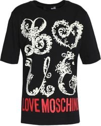 Love Moschino - Flocked Printed Cotton-jersey T-shirt - Lyst