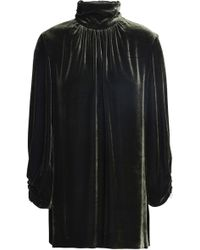 Mother Of Pearl - Ruched Velvet Turtleneck Top - Lyst