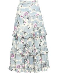Co. - Woman Floral-print Tiered Silk Crepe De Chine Midi Skirt Gray - Lyst