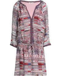 Joie - Gathered Printed Silk Crepe De Chine Mini Dress - Lyst