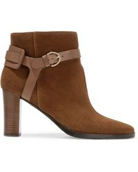Jimmy Choo - Hose Leather-trimmed Suede Ankle Boots - Lyst