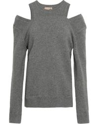 Michael Kors - Woman Cold-shoulder Mélange Knitted Sweater Grey - Lyst
