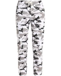Monrow - Cropped Printed Slub-jersey Track Pants - Lyst