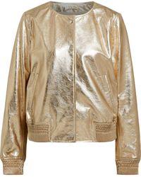 Meteo by Yves Salomon - Metallic Crinkled-leather Bomber Jacket - Lyst