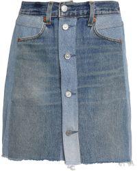 Levi's - Woman Two-tone Denim Mini Skirt Mid Denim - Lyst