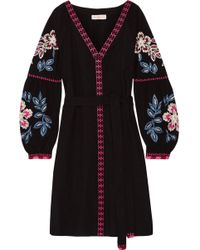 Tory Burch - Therese Embroidered Cotton Mini Dress - Lyst