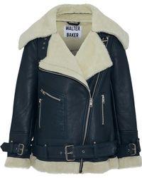 W118 by Walter Baker - Celine Shearling Biker Jacket Storm Blue - Lyst