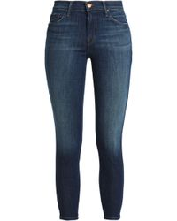 J Brand - Cropped Faded Mid-rise Skinny Jeans Dark Denim - Lyst