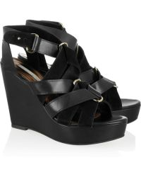 Twelfth Street Cynthia Vincent - Lila Leather And Suede Wedge Sandals - Lyst