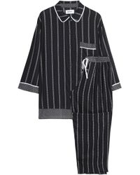 DKNY - Woman Striped Woven Pajama Set Black - Lyst
