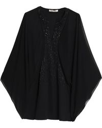 Roberto Cavalli - Embellished Georgette And Crepe Blouse - Lyst