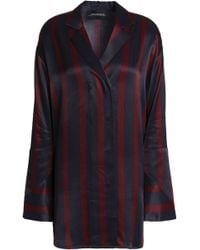 By Malene Birger - Woman Striped Satin Shirt Midnight Blue - Lyst