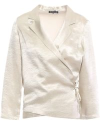 Ann Demeulemeester Crinkled-satin Wrap Top Platinum - Multicolour