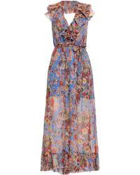 Zimmermann - Woman Belted Ruffled Printed Silk-georgette Halterneck Jumpsuit Blue - Lyst