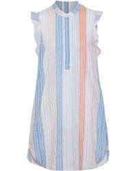 Stella McCartney - Ruffled Striped Cotton-blend Mini Dress - Lyst
