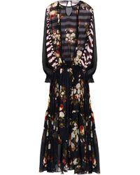 Preen Line - Zadie Draped Printed Chiffon Maxi Dress - Lyst