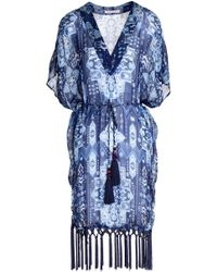Matthew Williamson - Fringe-trimmed Printed Silk-chiffon Coverup - Lyst