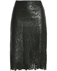 House of Holland - Wrap-effect Coated Corded Lace Skirt - Lyst