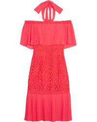 Temperley London - Off-the-shoulder Voile-paneled Macramé Midi Dress - Lyst