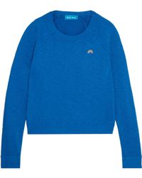 M.i.h Jeans - Embroidered Slub Cotton-jersey Sweatshirt Royal Blue - Lyst
