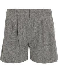 Chloé - Chloé Woman Herringbone Wool-blend Shorts Dark Gray - Lyst