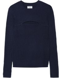 FRAME - Cutout Ribbed Merino Wool-blend Sweater - Lyst
