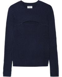 FRAME - Cutout Ribbed Merino Wool-blend Jumper - Lyst