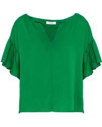 MILLY - Gabby Ruffled Stretch-silk Blouse - Lyst