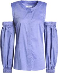 65d9a854a03d3 MILLY - Woman Mica Cold-shoulder Cotton-chambray Top Light Blue Size 0 -
