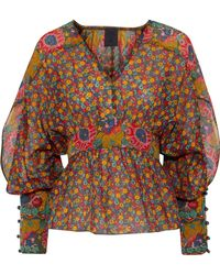 Anna Sui - Floral-print Cotton And Silk-blend Blouse - Lyst