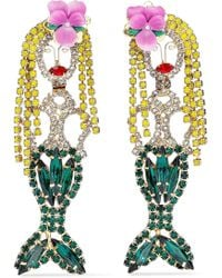 Elizabeth Cole - Woman 24-karat Gold-plated, Crystal And Resin Earrings Green - Lyst