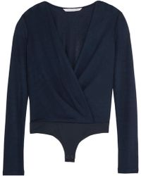 Diane von Furstenberg - Lala Wrap-effect Crepe And Stretch-jersey Bodysuit Midnight Blue - Lyst