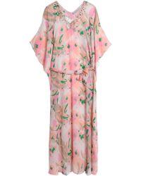 Heidi Klein - Embellished Printed Silk Kaftan Baby Pink - Lyst