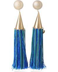 Rosantica - Gold-tone Tasseled Clip Earrings - Lyst