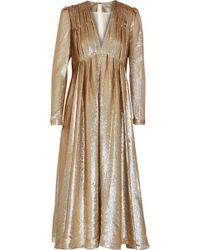 Adam Lippes - Woman Pleated Silk-blend Lamé Midi Dress Gold - Lyst