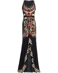 Roberto Cavalli - Woman Ruffled Printed Stretch-jersey Gown Multicolor - Lyst