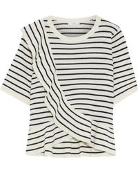 Joie - Woman Jayni B Ruffled Striped Wool And Cashmere-blend Top Ivory - Lyst
