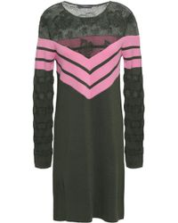ALEXACHUNG Panelled Crochet-knit And Striped Wool-blend Mini Dress Army Green